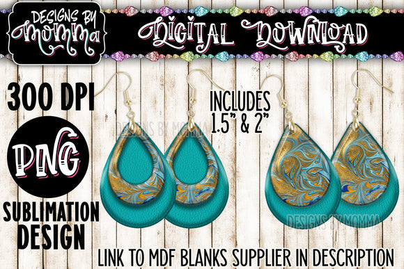 Turquoise Gold Swirl Teardrop Earring Sublimation Design