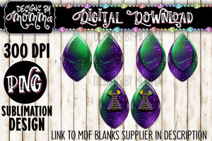 Mardi Gras Leaf 2 inch Earring Sublimation Design