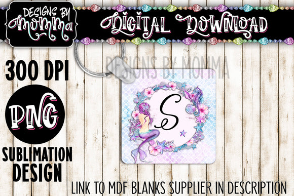 Pink Purple Mermaid Round Frame Square Keychain Sublimation Design