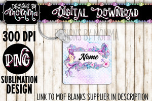 Pink Purple Mermaid Square Keychain Sublimation Design