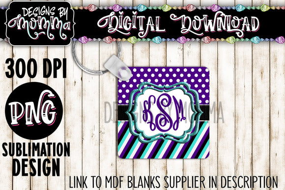 Purple Aqua Black White Monogram Square Keychain Sublimation Design
