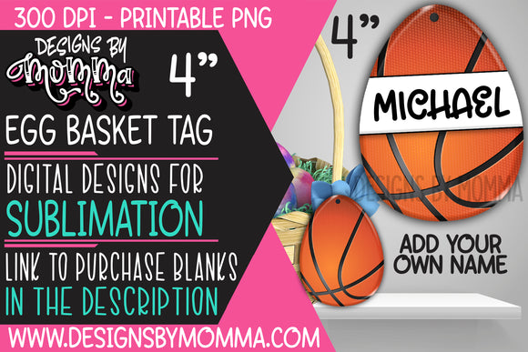 Egg Basket Tag Basketball Sublimation Design
