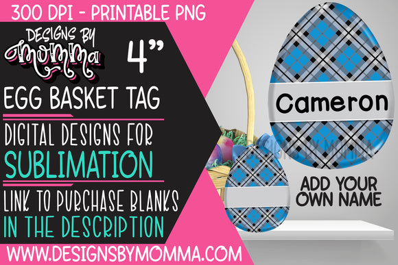Egg Tag Blue Black Plaid Sublimation Design