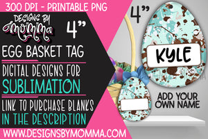 Egg Basket Tag Blue Splatter Sublimation Design