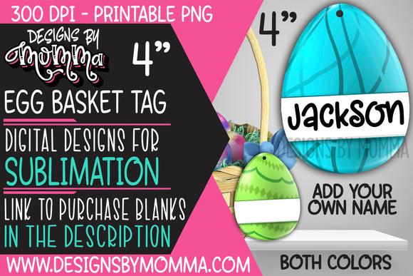 Egg Basket Tags Blue and Green Eggs Sublimation Design