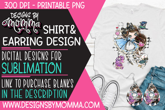 Alice Cartoon and Friends - Teardrop Earring and Shirt Sublimation Design