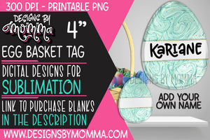Egg Basket Tag Mint Swirl Sublimation Design