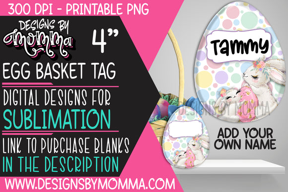 Egg Basket Tag Pastel Dots Bunny Sublimation Design