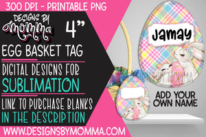 Egg Basket Tag Plaid Pink Blue Bunny Sublimation Design