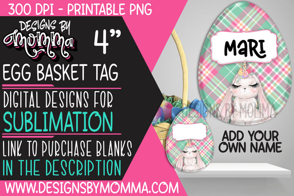 Egg Basket Tag Plaid Pink Aqua Bunnycorn Bunny Sublimation Design