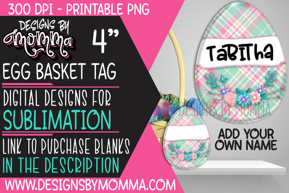 Egg Basket Tag Pink Aqua Plaid Flowers Sublimation Design