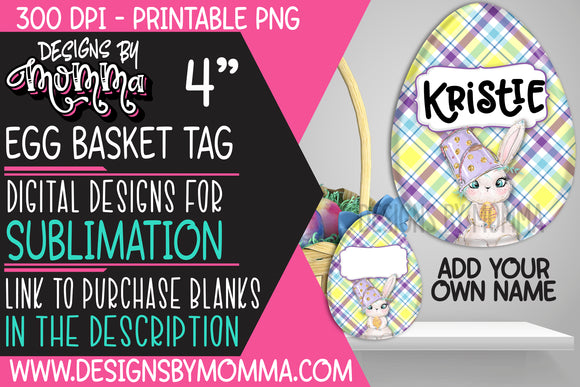 Egg Basket Tag Plaid Purple Bunny Sublimation Design