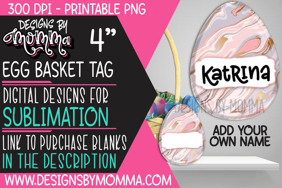 Egg Basket Tag Pastel Marble Sublimation Design