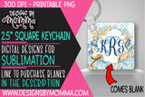 Blue Gold Mermaid Square Keychain Sublimation Design