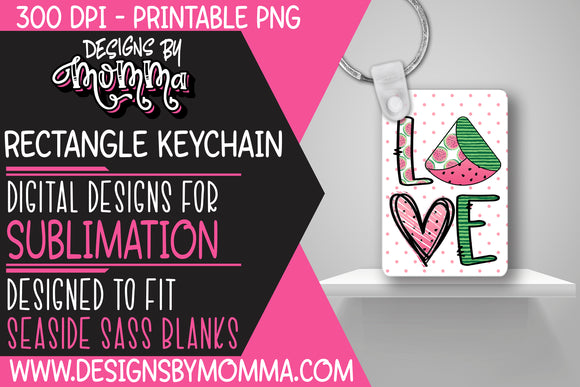 Watermelon Pink Dots Rectangle Keychain Sublimation Design