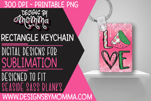 Watermelon Pink Drip Rectangle Keychain Sublimation Design