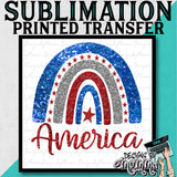 America Glittery Look Arch Sublimation Printed Transfer