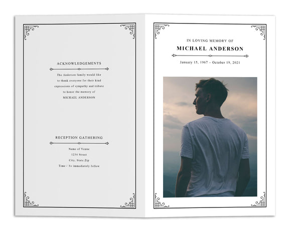 Funeral Program Template - Simple Classic Elegant Vintage, TM23 (Edit Online)