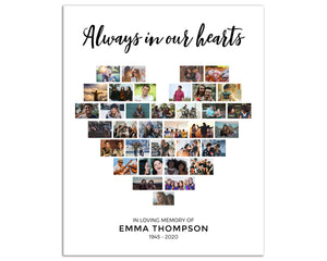 "Funeral Poster - Heart Collage, 35 Photos, White Background, 24""x36"", CL15"