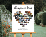 "Funeral Poster - Heart Collage, 35 Photos, White Background, 18""x24"", CL15"