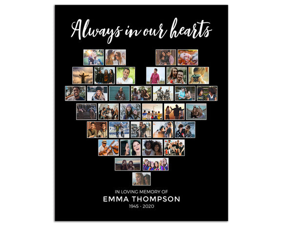 Funeral Poster:  Heart Collage, 35 Photos, Black Background - CL27