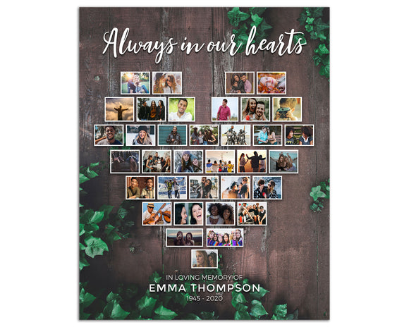 Funeral Poster - Heart Collage, 35 Photos, Wood Background, 24