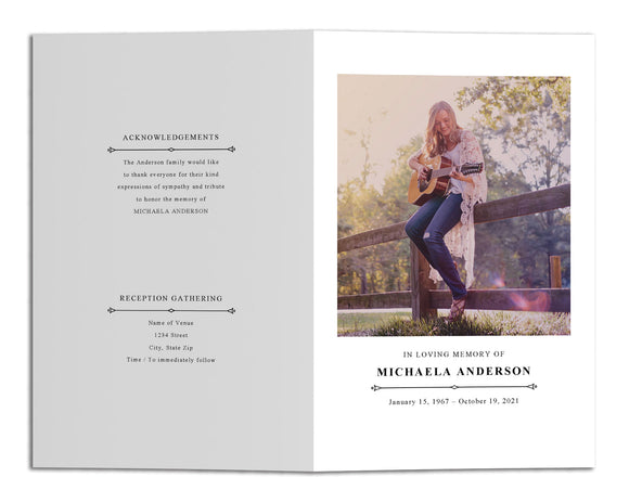Funeral Program Template - Simple Classic Vintage, DC12