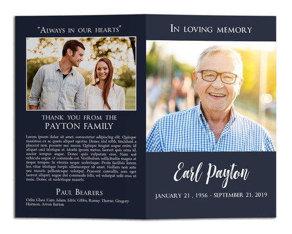 Funeral Program Template - Simple Modern Blue, MD11 (Premium)