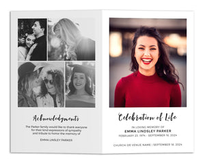 Funeral Program Template - Clean Minimal Collage, MD13 (Premium)