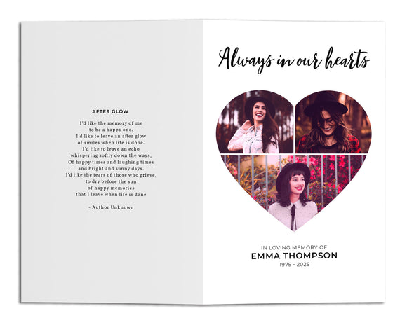 Funeral Program Template - Simple Heart Collage, MD21 (Premium)
