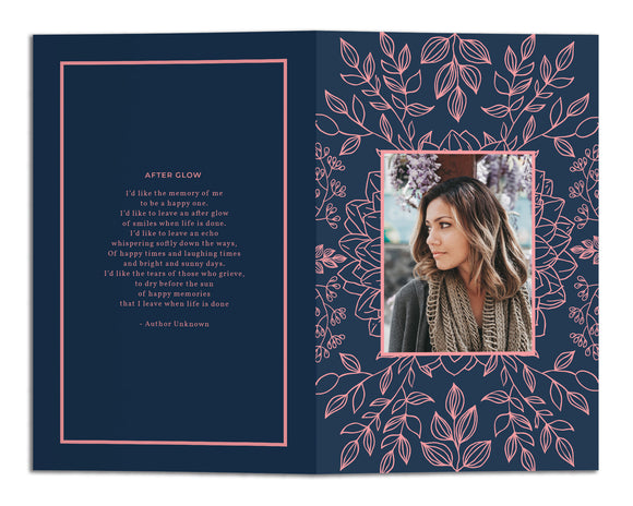 Funeral Program Template - Elegant Floral Line Art, MD22(Premium)