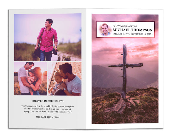 Funeral Program Template - Old Rugged Cross, FP12 (Premium)