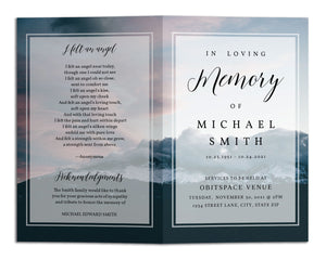 Funeral Program Template - Blue Mountain Sky, TM12