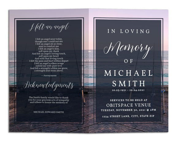 Funeral Program Template - Fishing Ocean Sunset, TM13