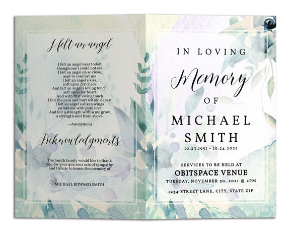 Funeral Program Template - Watercolor Flowers Floral, TM16