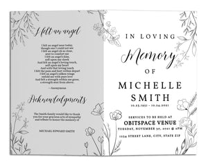 Funeral Program Template - Simple Elegant Flower Line Art, TM17