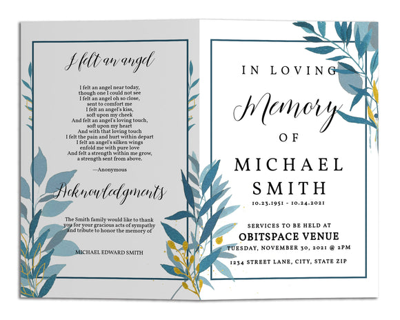 Funeral Program Template - Navy Blue Gold Floral, TM19