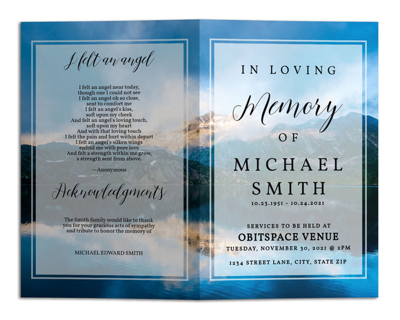 Funeral Program Template - Mountain Lake Sky, TM20