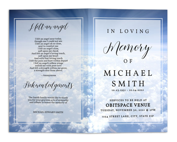 Funeral Program Template - Sky Clouds Heaven, TM21