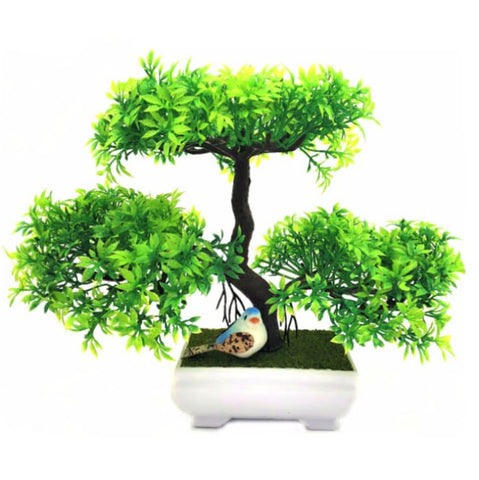 Artificial Green Bonsai Tree Miniature Triple Branches Fake Simulation Plants Small Bird by Arcane Trail
