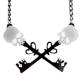 Skeleton Key Skull Pendant necklace Laser Cute Statement Necklace Creepy Cute Gothic Goth Style