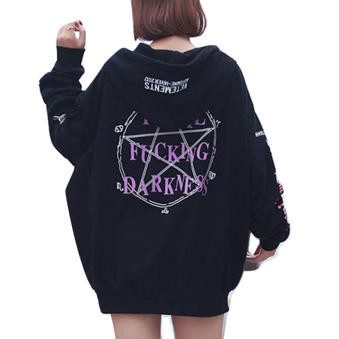 Black Fucking Darkness Satan Pagan Hoodie Sweatshirt Plus Size Pentagram