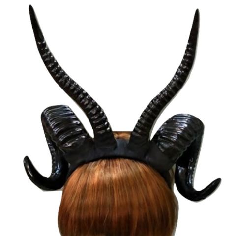 Black Satan Demon Devil Ram Horns Headpiece Headband Occult Darkness Pagan 666