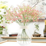 Pink White Baby's Breath Bunches Foilage Dried Herbs Artificial Plant Simulation Fake Herbal Planter Pots by Arcane Trail