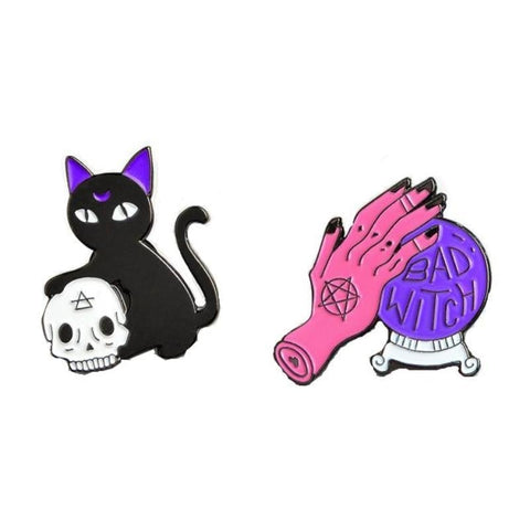 Bad Witch Black Cat Magick Enamel Pin Set Creepy Cute Pagan Goth Witchcraft Wicca Psychic Crystal Ball Lapel Brooch by Arcane Trail