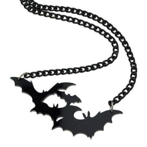 Spooky Black Bat Pendant necklace Goth Halloween Acrylic Statement Jewelry