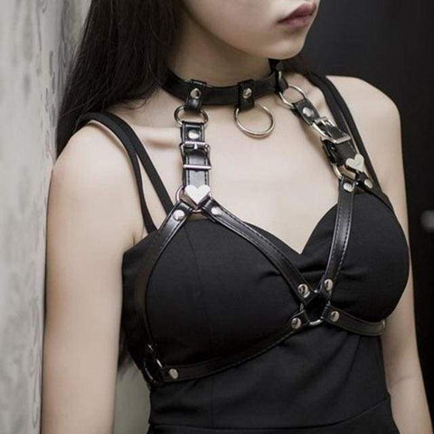 sexy bondage harness bdsm kink fetish lingerie strappy vegan leather  choker o ring sex by ddlg playground