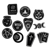 Black Magic Witchcraft Symbol Enamel Pins Lapel Brooch Set Pagan Witches Witchy Wicca Occult Goth Fashion Tartot Pentacle Ouija Magick by Arcane Trail