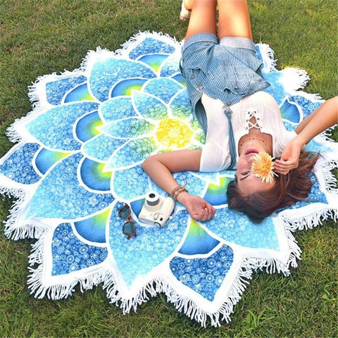 Blue Mandala Flower Area Rug Floor Yoga Mat Wall Tapestry Throw Blanket Fabric Tassels Spiritual Reiki Chakra Healing Hindu Buddhist by Arcane Trail