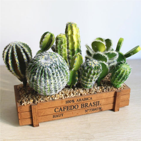 Green Artificial Cacti Plants Simulation Fake Cactus Planters Terrarium Pots Garden by Arcane Trail